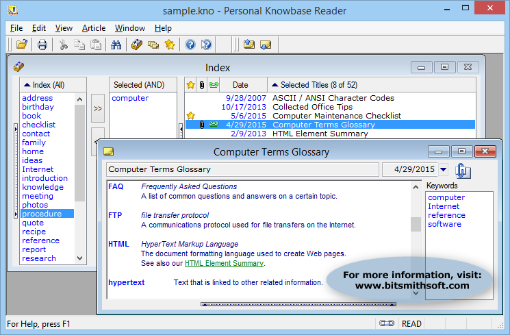 Personal Knowbase Reader Screen shot