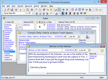 More information about Personal Knowbase note manager software