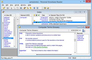 Personal Knowbase Reader software screen shot