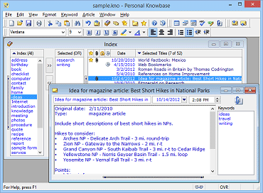 More information about Personal Knowbase notes software