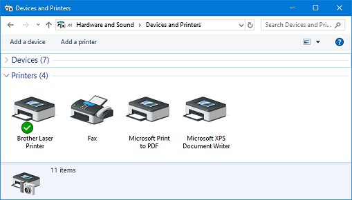 Devices and Printers dialog box